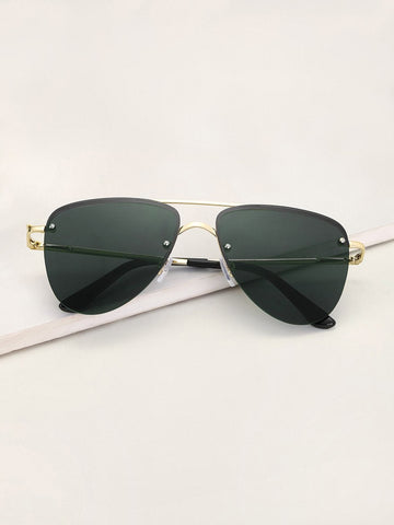 Black Rimless Top Bar Aviator  Sunglasses