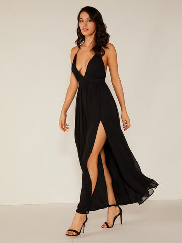 Black Sleeveless Double Crazy Criss-cross Backless Split Thigh Slip Dress