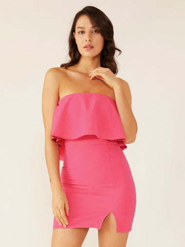 Hot Pink Strapless Sleeveless Double Crazy Solid Split Hem Ruffle Trim Tube Dress