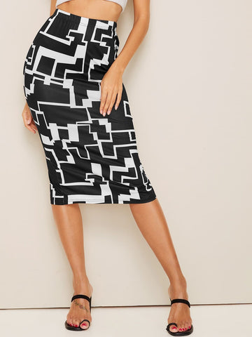 Black and White Geo Print Split Elastic Waist Pencil Skirt