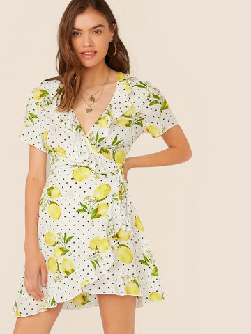 V-Neck Short Sleeve Ruffle Trim Fruit & Polka Dot Print Wrap Dress