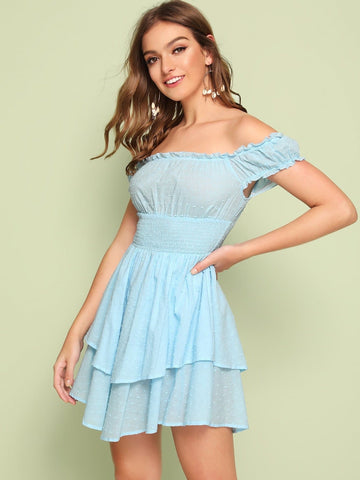 Pastel Blue Off Shoulder Swiss Dot Shirred Waist Bardot Layered Dress