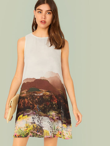 Round Neck Sleeveless Landscape Print Tank Dress