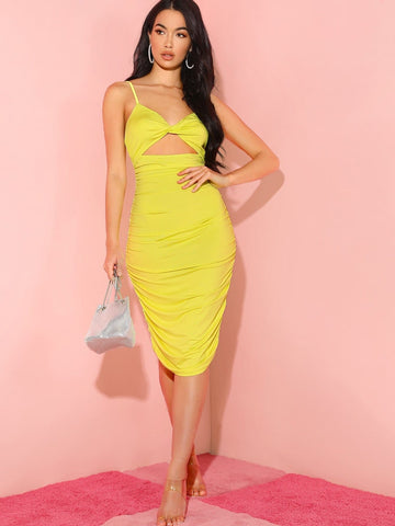 Yellow Spaghetti Strap Sleeveless Twist Front Ruched Peekaboo Cami Dress
