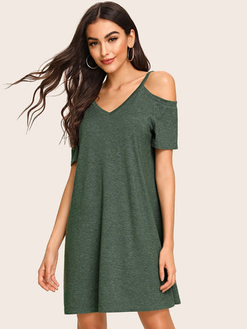 Green Short Sleeve Double V-Neck Cold Shoulder Trapeze Dress