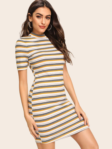 Rib Knit Short Sleeve Striped Rib-knit Bodycon T-shirt Dress