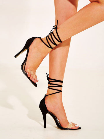 Black Open Toe Clear Strap Tie Leg Stiletto Heels