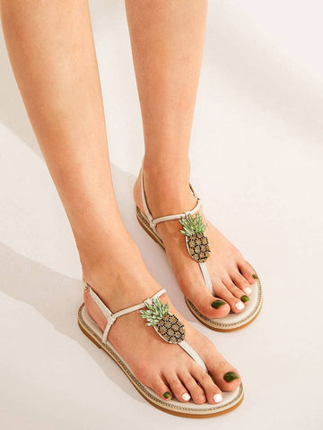 White Pineapple Decor Toe Post Sandals