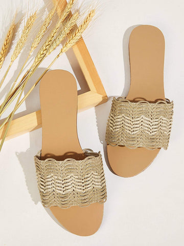 Open Toe Woven Flat Sliders