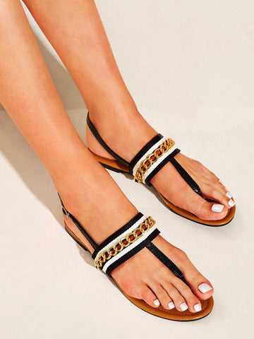 Toe Post Striped Detail Sliders