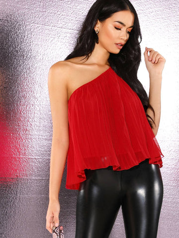 Bright Red Sleeveless One Shoulder Swing Top