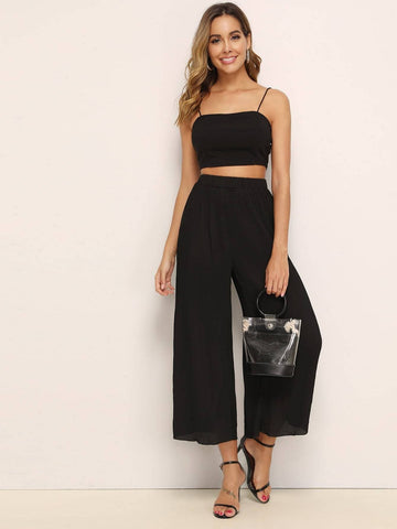 Black Solid Zip Back Cami Top & Pleated Wide Leg Pants Set