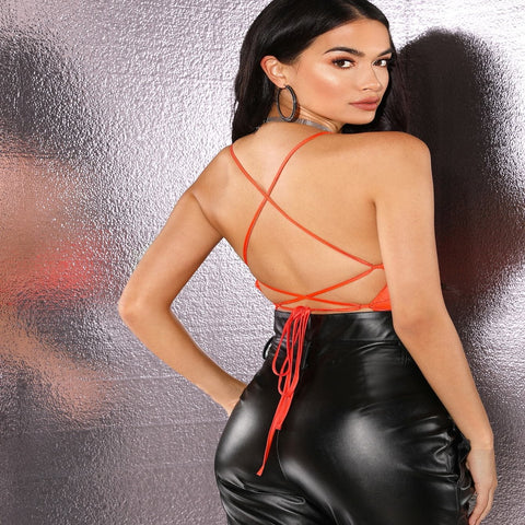 Neon Orange Spaghetti Strap Sleeveless Backless Slim Fit Lace-up Open Back Satin Halter Top