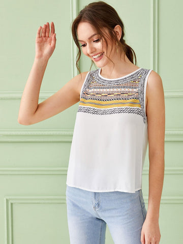 White Round Neck Tribal Print Top