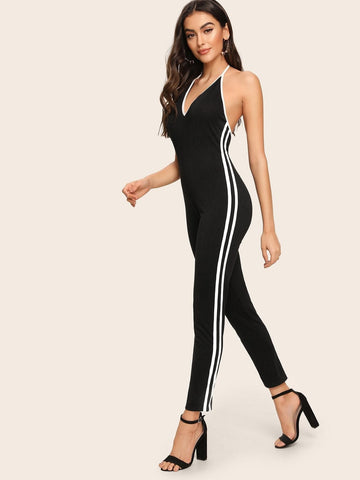 Black Sleeveless Side Stripe Backless Halter Jumpsuit