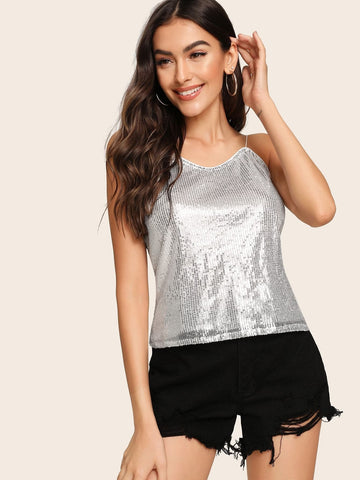 Grey Spaghetti Strap Sequin Silver Cami Top