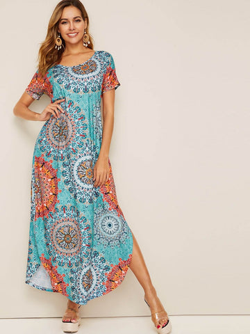 Round Neck Short Sleeve Tribal Print Slit Hem Dress
