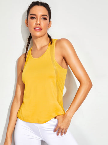 Yellow Sleeveless Round Neck Solid Racer Back Training Tank Top