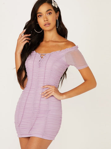 Pastel Purple off Shoulder Lace Up Front Ruched Bodycon Short Sleeve Dress