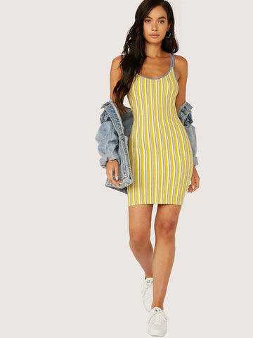 Yellow Sleeveless Spaghetti Strap Crisscross Back Striped Slip Dress