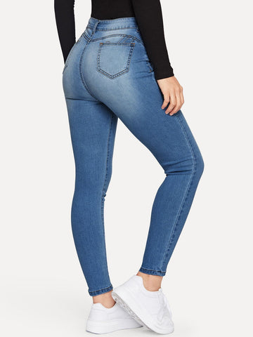Blue Bleach Wash Pocket Detail Skinny Tapered Jeans