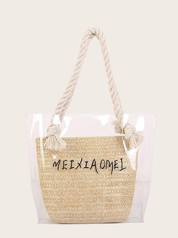 Double Handle Letter Print Clear Tote Bag With Woven Inner Pouch