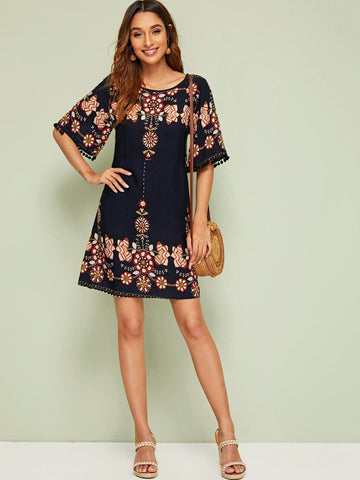 Round Neck Embroidery Pom Pom Cuff Tunic Dress