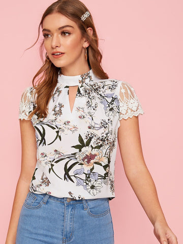 White Stand Collar Mock-neck Embroidered Mesh Sleeve Peekaboo Floral Top
