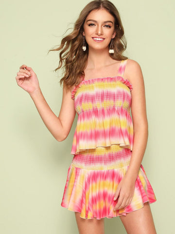 Sleeveless Tie Dye Shirred Detail Peplum Top & Skort Set