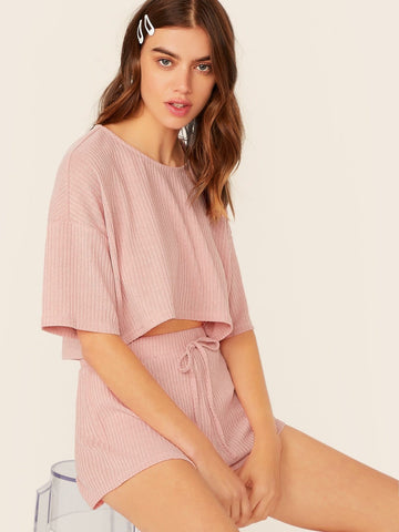 Pastel Pink Round Neck Solid Drop Shoulder Rib-knit Top & Shorts Set