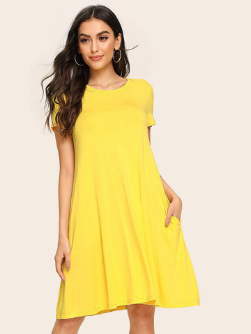 Yellow Round Neck Pocket Side Swing Tee Dress