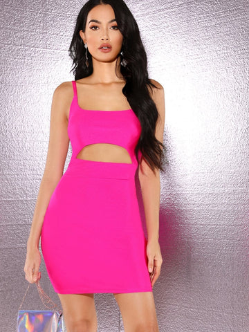 Sleeveless High Waist Neon Pink Peekaboo Front Slip Dress