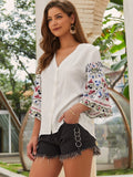 White V-Neck Button Front Embroidery Sleeve Blouse Top
