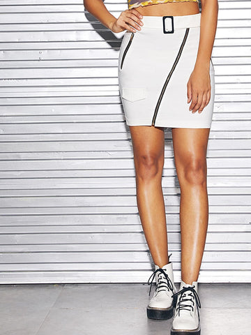 White Mid Waist Zip Front Belted Bodycon Skirt
