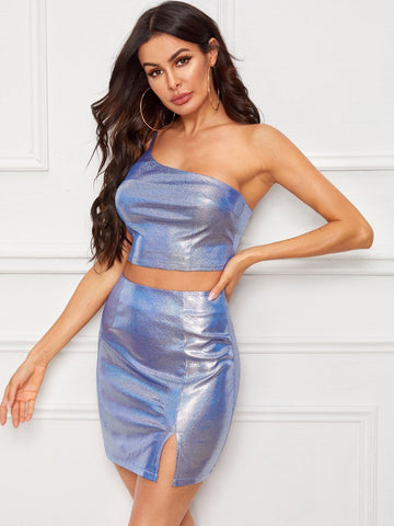 Blue Sleeveless Sparkle Glitter One Shoulder Top & Skirt