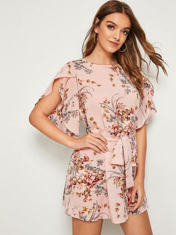 Pastel Pink Boat Neck Split Sleeve Self Belted Floral Print Dress