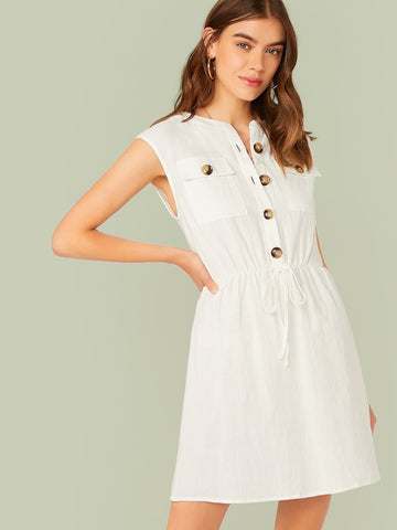 White Round Neck Sleeveless Buttoned Front Flap Pocket Patched Drawstring Waist Dress