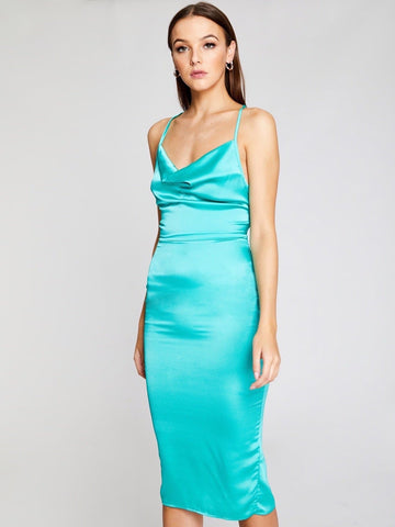 Bright Blue Sleeveless Lace Up Back Draped Front Split Satin Pencil Dress