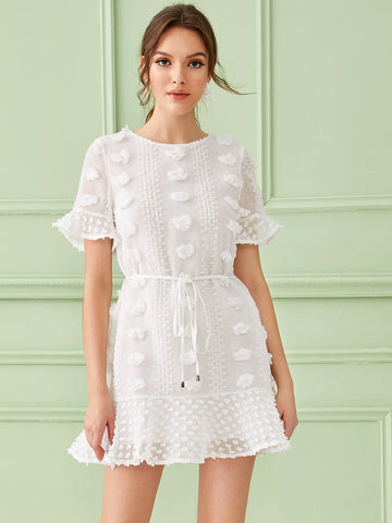 White Round Neck Swiss Dot Flounce Sleeve Belted Dress