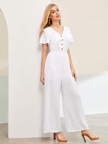 White Button Front V-neck Butterfly Sleeve Jumpsuit