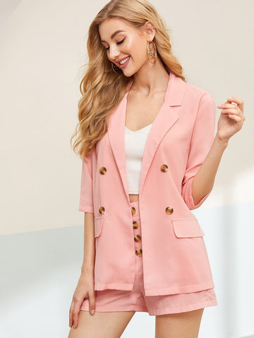 Pink Three Quarter Sleeve Double Button Solid Blazer With Shorts