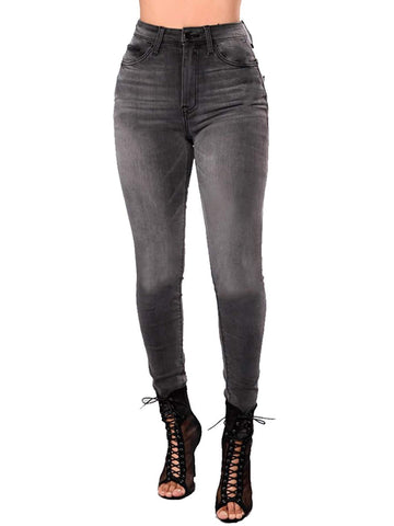 Grey Mid Waist Zip Fly Skinny Crop Jeans