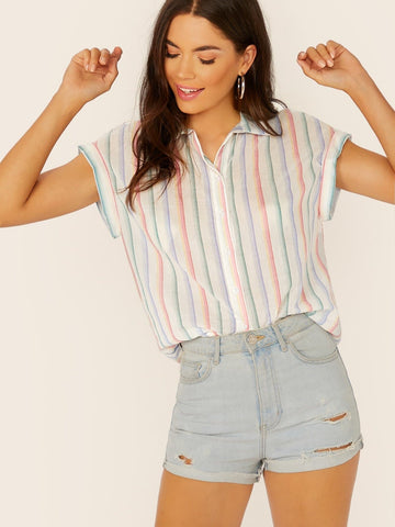 Regular Fit Collared Short Sleeve Striped Shirt