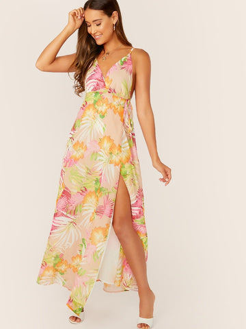Backless Sleeveless Spaghetti Strap Tropical Print Plunging Neck Tie Side Wrap Dress