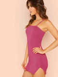 Spaghetti Strap Sleeveless Split Side Fitted Cami Dress