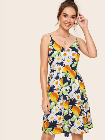 Spaghetti Strap Sleeveless Daisy Floral & Lemon Print Cami Dress