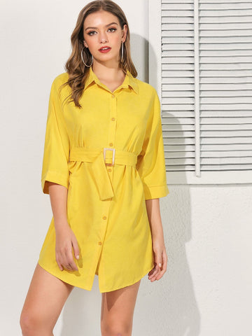 Yellow Three Quarter Sleeve Button Front Belted Curved Hem Shirt Dress