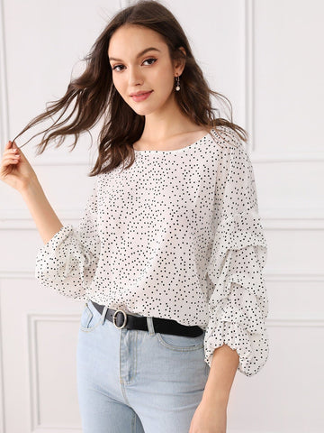 Polka Dot Round Neck Three Quarter Gathered Sleeve Top