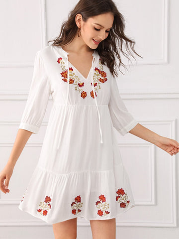 White Half Sleeve V-Cut Neck Embroidery Detail Ruffle Hem Dress