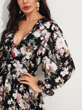 Black Frill Plunging Neck Backless Ruffle Hem Floral Print Dress